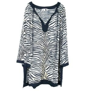 CACIQUE Kaftan Lounge Dress Animal Print Zebra EUC